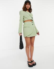 Классическая мини-юбка цвета хаки (от комплекта) -Зеленый цвет Bershka 11646839