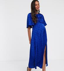 Синее атласное платье миди с расклешенными рукавами -Синий Queen Bee 9198630