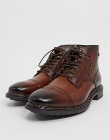 Коричневые кожаные ботинки со вставкой на носке-Коричневый Base London 10180128
