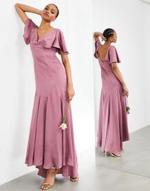 Светло-лиловое атласное платье макси с рукавами клеш -Фиолетовый цвет ASOS Edition 11157252