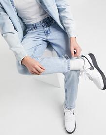 Светло-голубые джинсы прямого кроя в винтажном стиле -Голубой Bershka 11488616