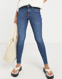 Темно-синие зауженные джинсы с классической талией Femme Sophia-Голубой SELECTED 11444431