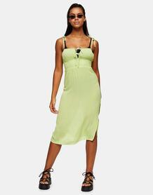 Пляжное платье миди лаймового цвета со сборками спереди -Зеленый цвет TOPSHOP 11955775