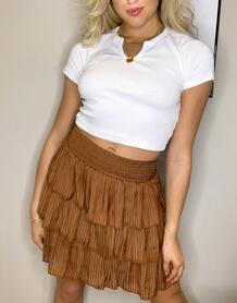 Коричневая юбка с оборками -Коричневый цвет VILA 10824181