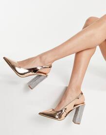 Туфли цвета розового золота на высоком блочном каблуке с ремешком через пятку с украшениями Parson-Золотистый ASOS DESIGN 11341467
