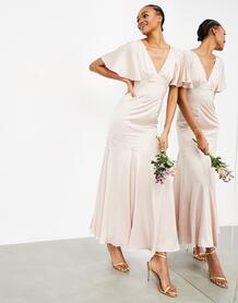 Розовое атласное платье макси с рукавами клеш -Розовый цвет ASOS Edition 11157235