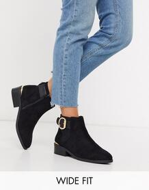 Черные ботинки для широкой стопы с пряжками -Черный River Island 9512113