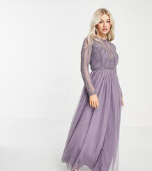 Сиреневое платье макси с украшенным лифом и юбкой из тюля ASOS DESIGN Petite-Фиолетовый цвет Asos Petite 9742743