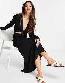 Черное платье-рубашка миди с вырезом и декоративным узлом спереди -Голубой ASOS DESIGN 11593099