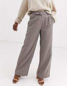 Коричневые широкие брюки в клетку с поясом -Черный Vero Moda 9019999
