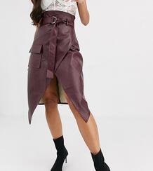 Бордовая юбка миди из искусственной кожи -Красный Missguided Tall 9275359