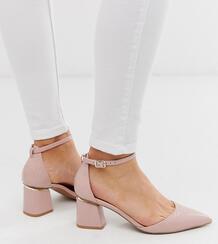 Бежевые туфли на каблуке для широкой стопы с крокодиловым рисунком и острым носком -Neutral ASOS DESIGN 8446215