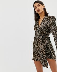 Атласное платье мини с леопардовым принтом -Мульти ASOS DESIGN 7969756