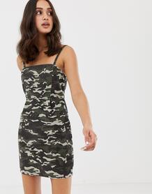 Вельветовое платье с камуфляжным принтом -Мульти ASOS DESIGN 7594999