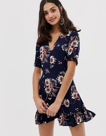 Чайное платье с V-образным вырезом и цветочным принтом -Темно-синий Parisian 8015653
