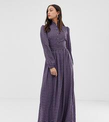 Платье макси в клеточку с высоким воротом -Фиолетовый Glamorous Tall 8078090