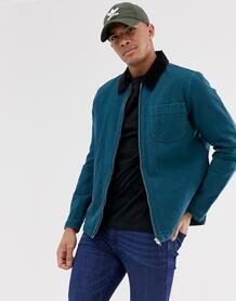 Сине-зеленая парусиновая куртка на молнии -Зеленый ASOS DESIGN 8371110