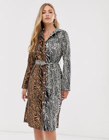 Платье-рубашка миди с тигровым принтом -Мульти Liquorish 8620372