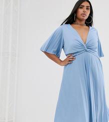 Плиссированное платье миди с широкими рукавами ASOS DESIGN Curve-Синий Asos Curve 8811929