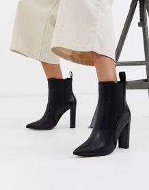 Черные кожаные ботинки в ковбойском стиле на высоком каблуке -Черный River Island 8755120
