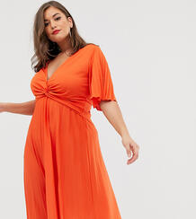 Плиссированное платье миди с широкими рукавами ASOS DESIGN Curve-Оранжевый Asos Curve 8695604