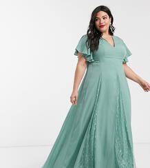 Платье макси с кружевными вставками ASOS DESIGN Curve-Зеленый Asos Curve 9380668