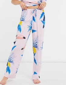 Розовые комбинируемые пижамные штаны из 100% модала с принтом туканов -Мульти ASOS DESIGN 10379748