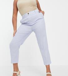 Голубые льняные брюки-сигареты ASOS DESIGN Curve-Голубой Asos Curve 10778630