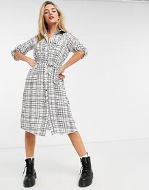 Платье-рубашка миди в клетку -Многоцветный Liquorish 10931288