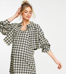 Клетчатое платье-рубашка мини с длинными рукавами и пиджаком ASOS DESIGN Maternity-Черный цвет Asos Maternity 11095786