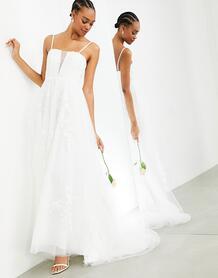 Свадебное платье на тонких бретельках с очень глубоким вырезом и цветочной вышивкой Margot-Белый ASOS Edition 11287934