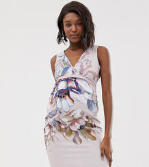 Платье-футляр с глубоким декольте и крупным цветочным принтом -Мульти Little Mistress Maternity 8011225