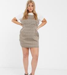 Платье мини в клетку на бретелях от комплекта In The Style x Fashion Influx Plus-Мульти In The Style Plus 9437019