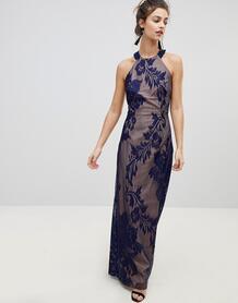 Декорированное платье макси с вырезом под горло -Темно-синий Little Mistress 7436548