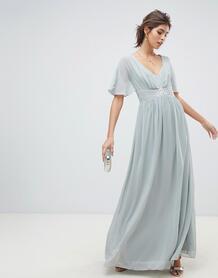 Шифоновое платье макси с рукавами клеш Waterlily-Серый Little Mistress 7889391
