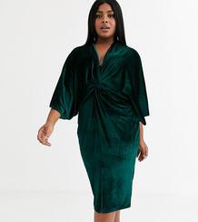 Зеленое бархатное платье миди с широкими рукавами -Зеленый Flounce London Plus 9156596