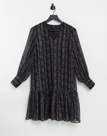 Свободное шифоновое платье с комбинированным принтом -Многоцветный Y.a.s 9943699