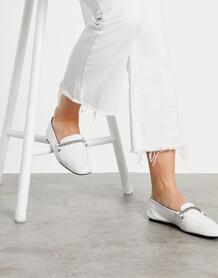 Белые кожаные лоферы Minute-Белый ASOS DESIGN 10807684