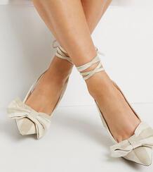 Туфли бежевого цвета на высоком каблуке с бантом и с завязками на щиколотке для широкой стопы Wide Fit Peony-Нейтральный ASOS DESIGN 10835068