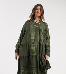 Зеленое свободное платье с ацтекским принтом -Зеленый Only Curve 9594021