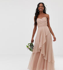 Платье-бандо макси с многослойной юбкой ASOS DESIGN Tall Bridesmaid-Розовый Asos Tall 7902263