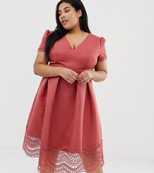 Пышное платье миди для выпускного терракотового цвета с глубоким вырезом и кружевной отделкой -Красный Little Mistress Plus 8001976