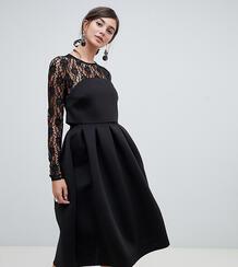 Кружевное платье для выпускного с длинными рукавами -Черный Asos Tall 6915551