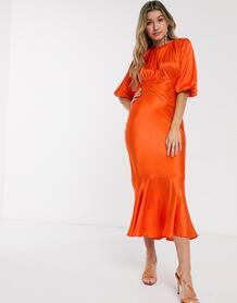 Коралловое атласное платье миди косого кроя -Оранжевый ASOS DESIGN 9246126