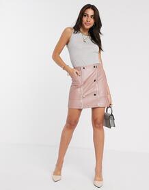 Розовая стеганая мини-юбка из искусственной кожи -Розовый River Island 9483621