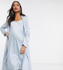 Синее платье миди на бретелях и жакет с драпировкой Maternity-Синий Queen Bee 9541908