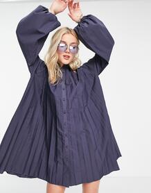 """Серое поплиновое платье-рубашка трапеция мини со складками в стиле """"oversized"""" -Серый ASOS DESIGN 11134159"""
