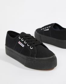 Черные кроссовки на платформе 2790 linea-Черный Superga 7900522