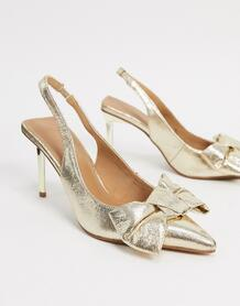 Золотистые туфли на среднем каблуке сбантом и ремешком через пятку Soul-Золотистый ASOS DESIGN 9795342
