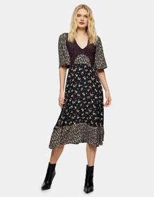 Разноцветное платье миди с комбинированным цветочным принтом -Голубой TOPSHOP 11823059